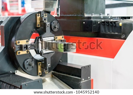 automatic feed and cl& for square pipe for high precision laser cutting machine & Automatic Feed Clamp Square Pipe High Stock Photo (Royalty Free ...