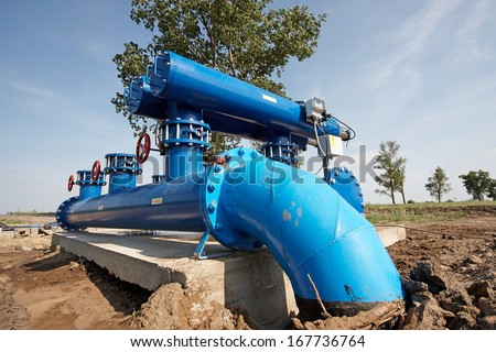 automatic filter for water treatment, water filtration  - stock photo