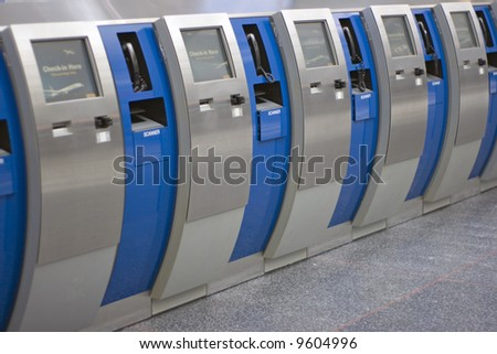 Automatic flight check-in - stock photo