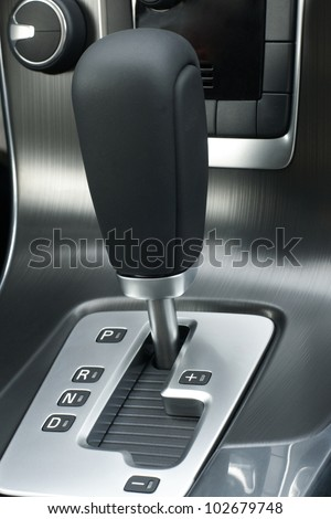 Automatic gear shift of a car, a vertical picture - stock photo