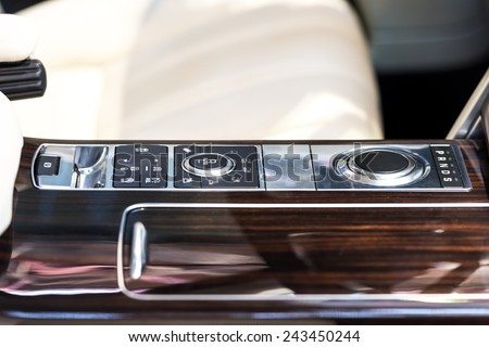 Automatic Gearbox Transmission Shift In Car Interior - stock photo