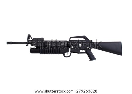 Automatic gun isolated over white - stock photo