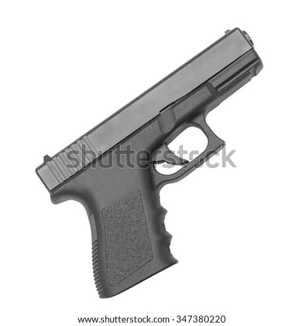 automatic hand gun on white background - stock photo