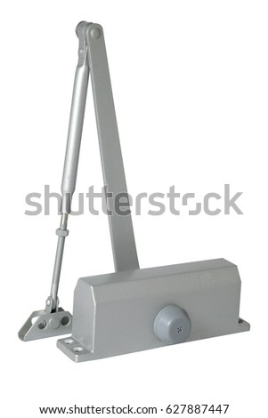 automatic hydraulic leaver hinge door closer holder isolated on white background
