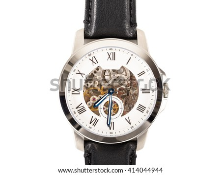 Automatic Men Watch With Visible Mechanism Isolated On White - stock photo