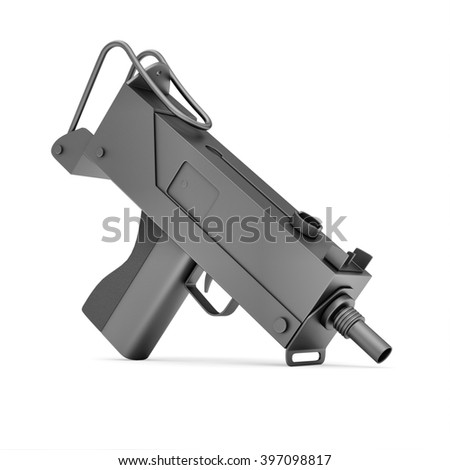 Automatic 9mm Machine Gun isolated on white background. Military Weapons Concept. 3D Rendering
