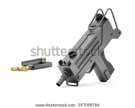 Automatic 9mm Machine Gun with Holders isolated on white background. Military Weapons Concept. Focus on the Machine Gun. 3D Rendering - stock photo