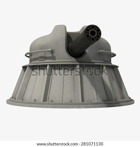 Automatic Naval Close-in Weapon System. 3D Model. - stock photo