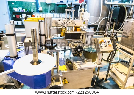 Automatic packing line of conveyor. Pharmaceutical and chemical industry. Manufacture on factory - stock photo