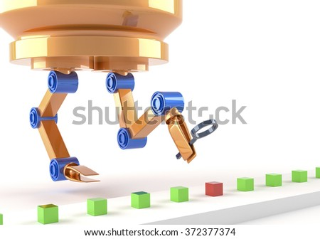 Automatic quality control - with robot - stock photo