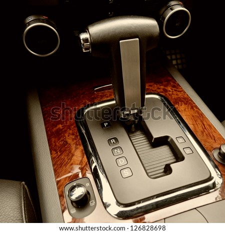 Automatic transmission gear shift - stock photo
