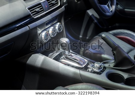 Automatic transmission gear shift in car  - stock photo