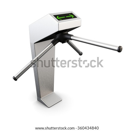 Automatic turnstile isolated on white background. 3d rendering. - stock photo