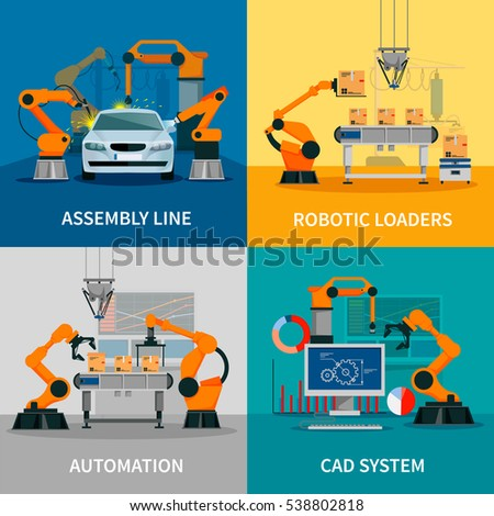 Horizontal Banners Set Robot Welder Assembly Stock Vector ...