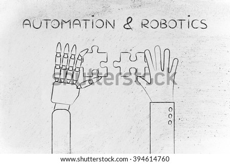 automation & robotics: human and robot hands solving a puzzle