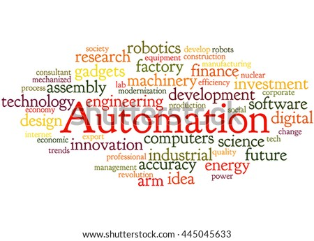 Automation, word cloud concept on white background.