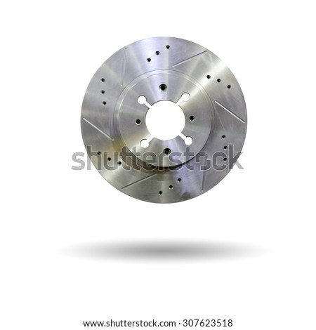 Automobile braking system. Aeration steel brake disk with perforation and red six pistons calipers and pads. Tuning auto parts. Isolated on white background - stock photo