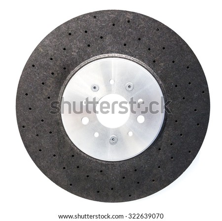 Automobile ceramic composite brake disk isolated on white