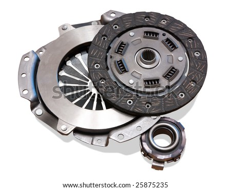 automobile  clutch. Isolated on white with clipping path - stock photo