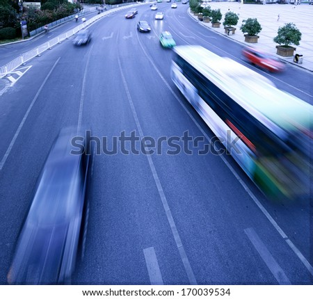 Automobile congestion in rush hour,Busy highway - stock photo
