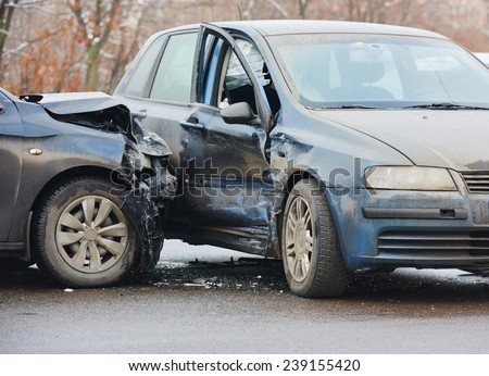 automobile crash accident on street, damaged cars after collision in city - stock photo