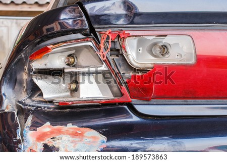Automobile damage caused by accident.