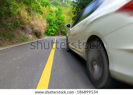 Automobile highway driving, wheel movement.  - stock photo