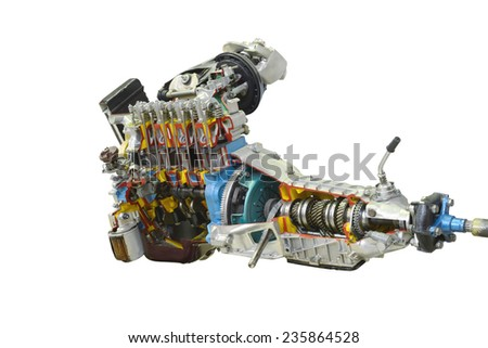 automobile motor with transmission isolated on white background - stock photo