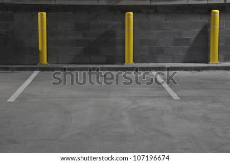 automobile parking garage at night in Raleigh, North Carolina - stock photo
