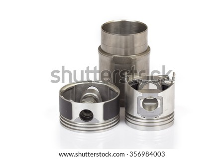 automobile parts piston isolated on a white background