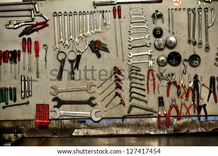 automobile repair and maintenance tools set - stock photo