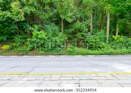 Automobile road and green vegetation - stock photo