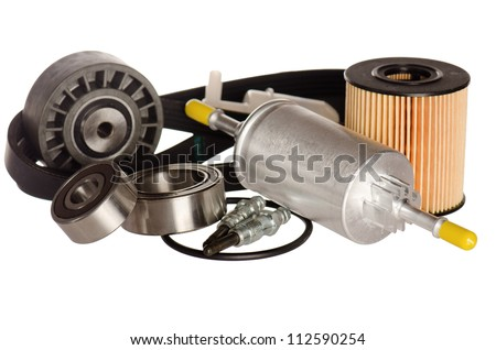 Automobile spare parts, it is isolated on white - stock photo