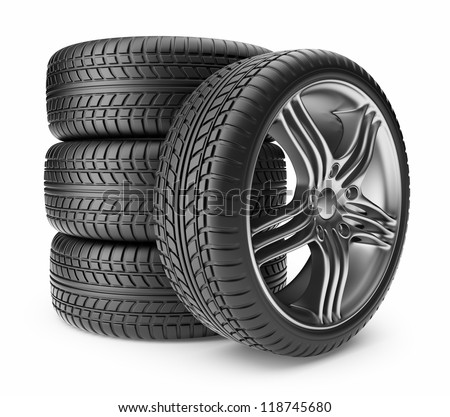 Automobile tire. Wheel 3D, Icon isolated on white background - stock photo