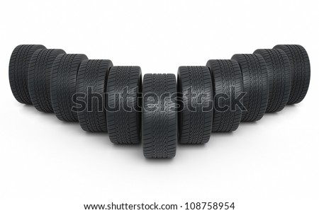 Automobile Tires render (isolated on white and clipping path) - stock photo