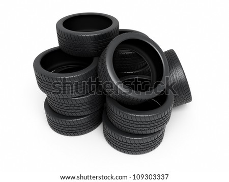 Automobile Tires render (isolated on white and clipping path)
