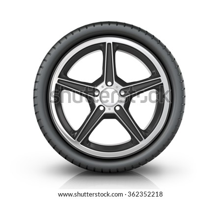 Automobile wheel on a white background.