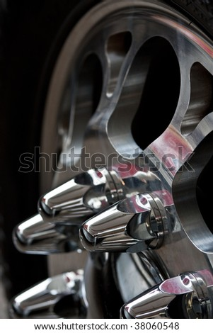 Automobile wheel with the chromeplated disk closeup