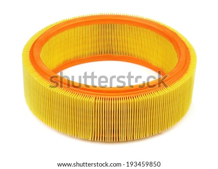 Automotive air filter isolated on white - stock photo