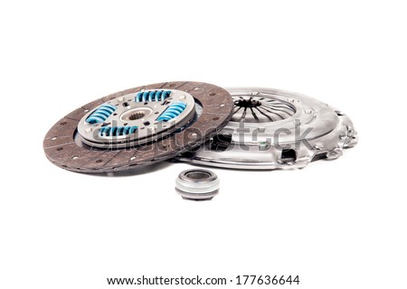 Automotive clutch kit closeup isolated on white - stock photo