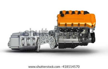 Automotive engine gearbox assembly.3D illustration.