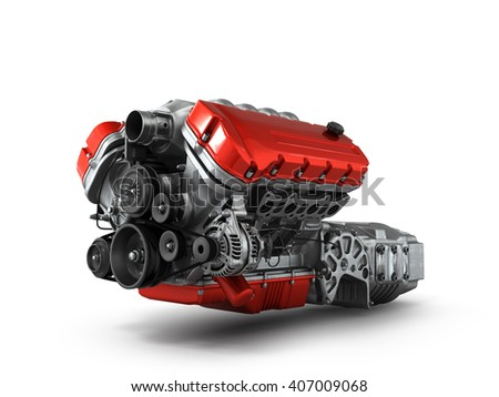 automotive engine gearbox assembly is isolated on a white background 3d render - stock photo