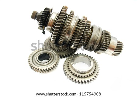 automotive gear part on isolated white background