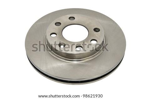 automotive parts brake disc on a white background - stock photo