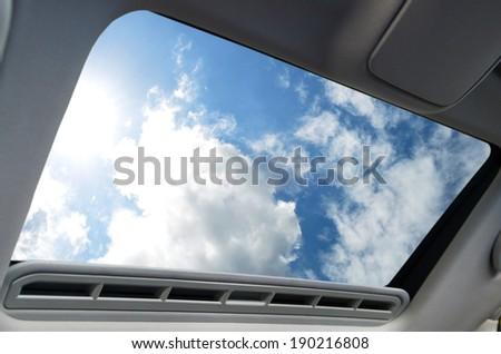 Automotive sunroof closeup - stock photo