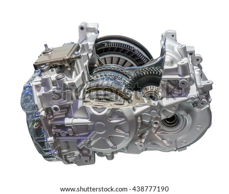 Automotive transmission gearbox isolated - stock photo