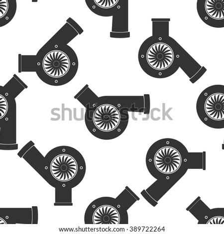 Automotive turbocharger icon seamless pattern on white background - stock photo