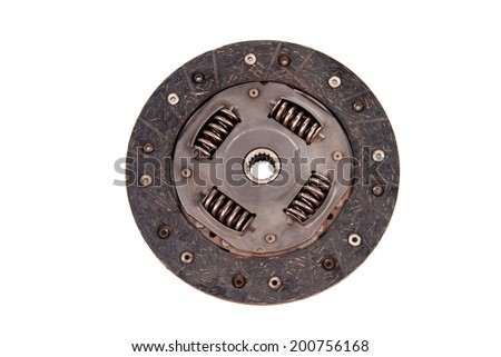 Automotive used friction disc clutch component isolated on white