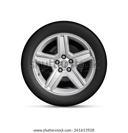 Automotive wheel on light alloy disc isolated on white background with soft shadow - stock photo