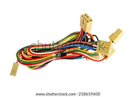 Automotive wiring bundle of wires isolated on white - stock photo